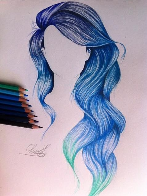 Mermaid hair color drawing Hair!! blue wavy long hair. Fun to draw