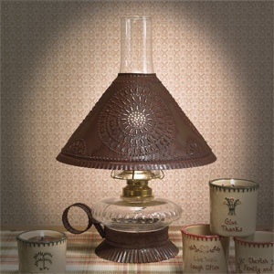 electrified oil lamp w rustic shade tin base punched. Black Bedroom Furniture Sets. Home Design Ideas