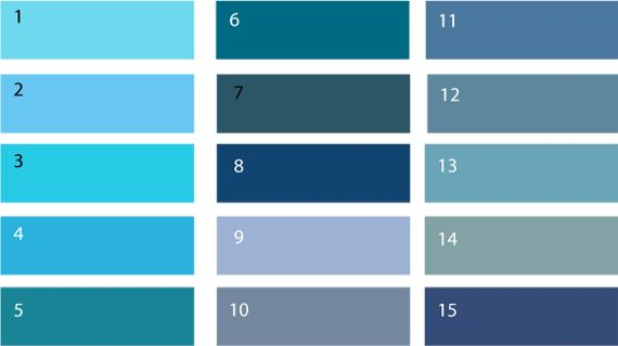 Теплый синий цвет – это сложные оттенки, в большинстве своем умеренно уходящие в зеленый цвет. Это такие цвета как (1) голубо-зеленый, (2) топаз, (3) бирюзовый, (4) темно-голубой, (5) сине-зеленый, (6) цвет морская волна, (7) черное море, (8) берлинская лазурь, (9) гиацинтовый, (10) стальной, (11) джинсовый цвет, (12) сизый цвет, (13) серо-зелено-голубой цвет, (14) серо-сине-зеленый цвет, (15) сине- серый цвет.