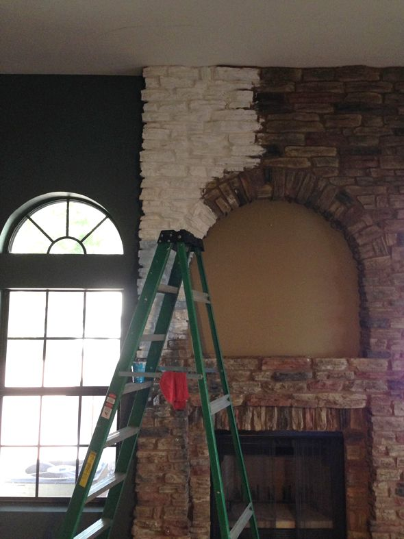 Painting Stone Fireplace // Little Green Notebook