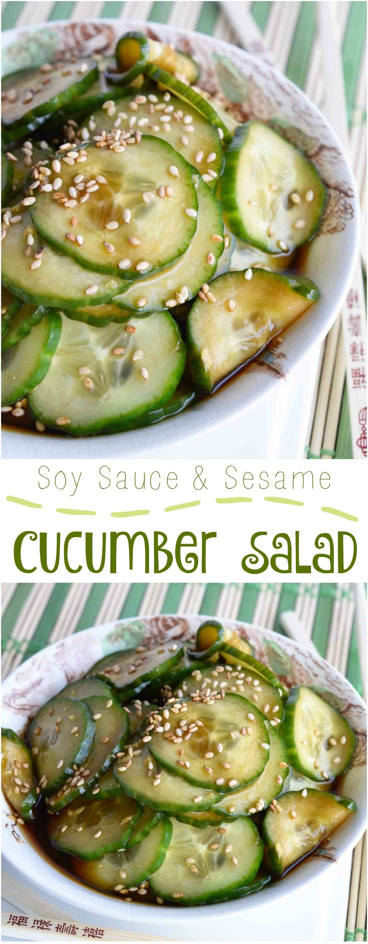 This Cucumber Salad Recipe is a quick, easy side dish that is perfect for summer! Thinly sliced cucumbers in a soy sauce sesame seed dressing. A cool vegan cucumber salad with Asian flair! #asian #salad wonkywonderful.com
