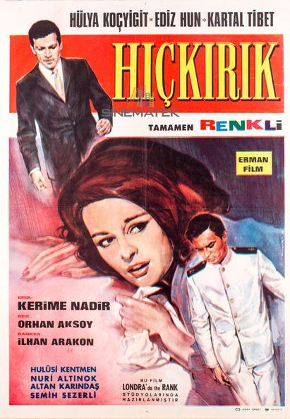 ✿ ❤ Hıçkırık, 1965 yılında Orhan Aksoy'un yönettiği Türk filmi. Filmin senaryosu Hamdi Değirmencioğlu tarafından kaleme alınmıştır. Başrollerini Hülya Koçyiğit, Ediz Hun ve Kartal Tibet paylaşmıştır. Kerime Nadir'in 1936 tarihli Hıçkırık romanından yapılan ikinci uyarlamadır. İlk uyarlama, 1953 yılında Atıf Yılmaz tarafından çevrilmiştir. 1971 yılında yine Kerime Nadir'in devam romanı olan Son Hıçkırık romanından uyarlanan bir devam filmi olan Son Hıçkırık çevrilmiştir.