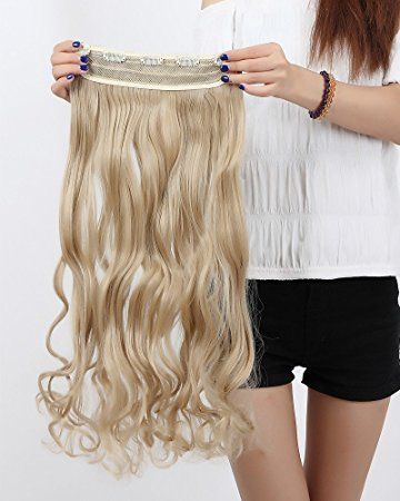 S-noilite Popluar 24″ Hairpiece Curly Ash Blonde One Piece 5 Clips Clip In Hair Extensions Classical Color… Review