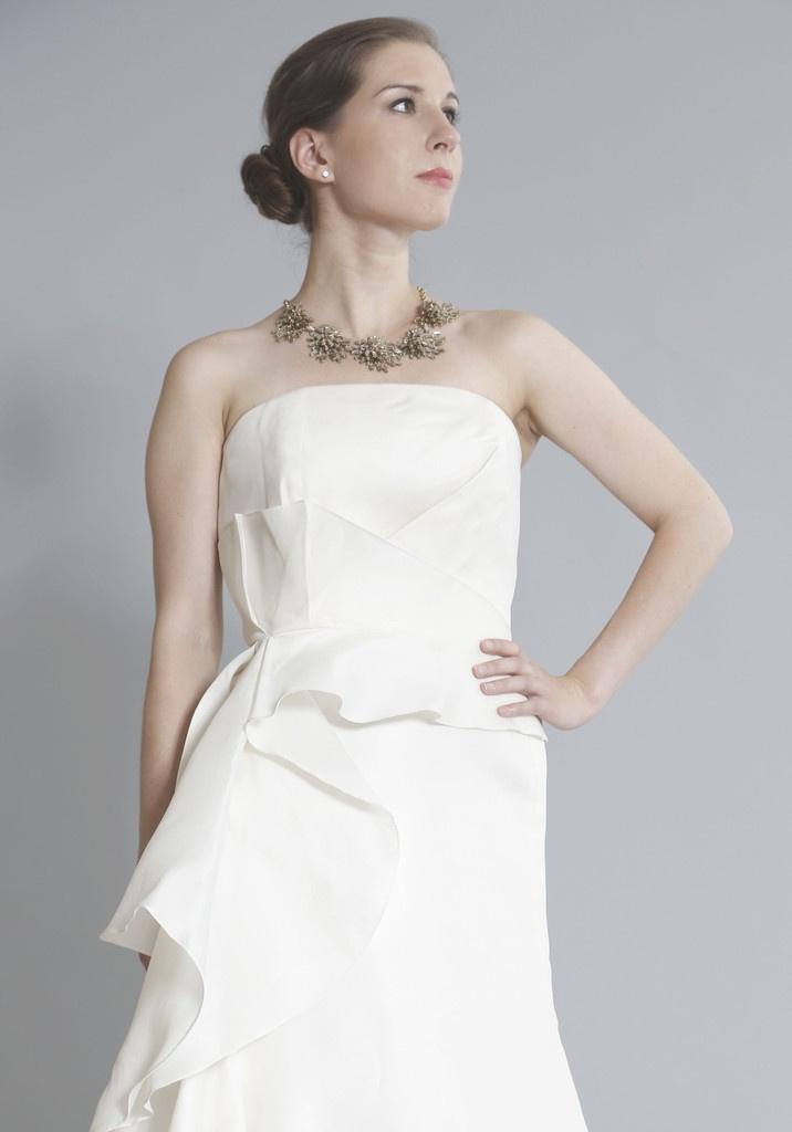 Angel Sanchez Adrianna Strapless Asymmetric Gown Wedding Dress | Nearly Newlywed