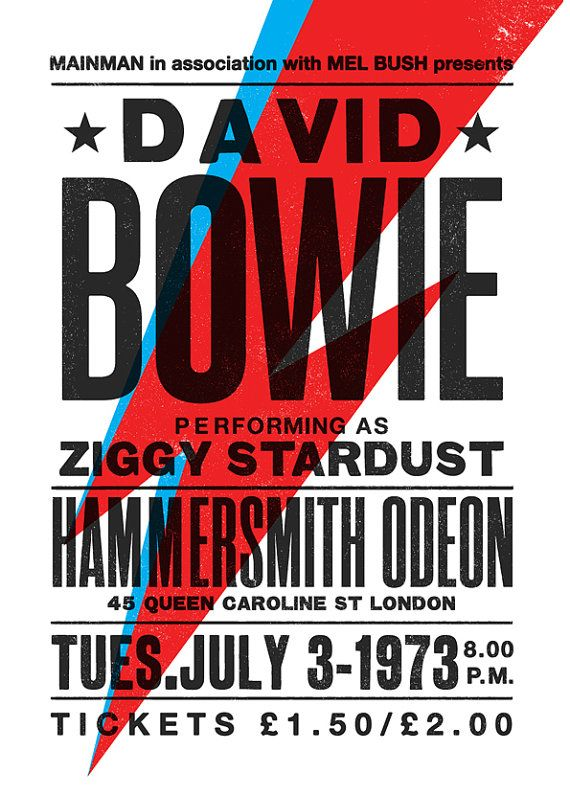 David Bowie concert poster David Bowie art print par TheIndoorType                                                                                                                                                                                 Plus