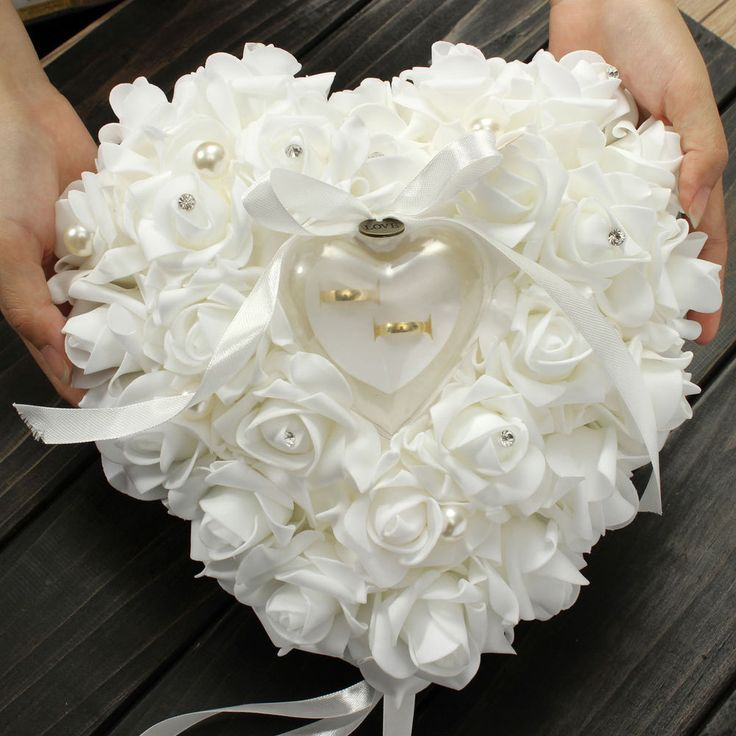 Especially For you White Rose Pearl Heart Wedding Pocket Ring Pillow Cushion