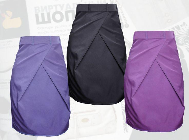 37$ Классическая юбка для полных девушек с модной встречной складкой Артикул 811, р50-64