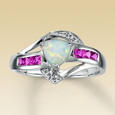 Lab Created Diamond Fashion Rings Diamond Lab Created Opal