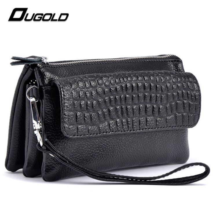 OUGOLD female wallet 2016 New Designer Genuine Leather Wallet Women Cosmetic Mobile Phone Bag Ladies zipper card Holder Purse