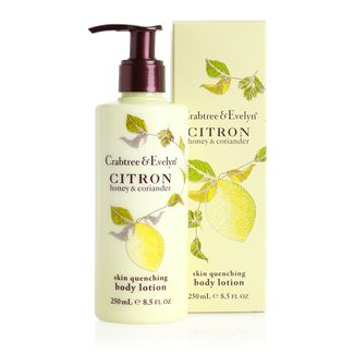 Drench dry skin with our award-winning Citron, Honey & Coriander Body Lotion. A blend of zesty citron scent and softening apricot and peach kernel oils, this lightweight lotion is infused with sugar and fruit extracts to help clarify and smooth skin.
