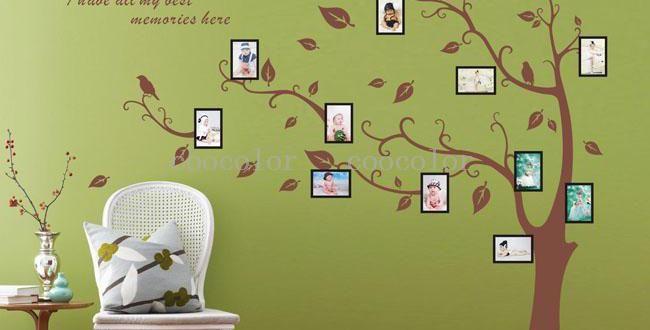 wandgestaltung grün- wandtattoo baum - fresHouse