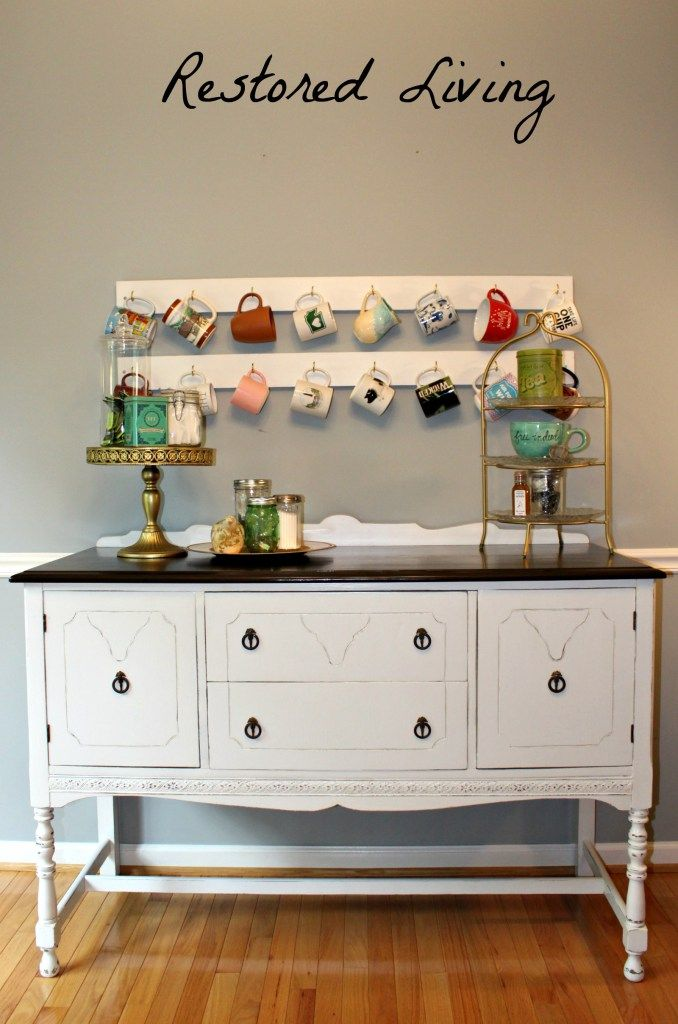 Painted Buffet For Kitchen Or Tea Bar General Finishes Java Gel Stain And Rust Oleum Linen White Chalked Paint