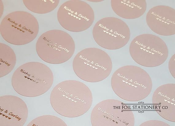 Personalised Round Foil Label with Custom Logo Branding Circular Label Stickers in Rose Gold for Business and Wedding Seals