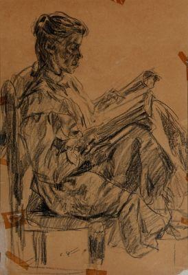 """Lote: 33007475. GIMENO I ARASA, Francesc (Tortosa, Tarragona, 1858 – Barcelona, 1927). """"Mujer leyendo"""". Carbón sobre papel. Firmado en la zona inferior izquierda. Medidas: 61 x 41,5 cm; 78,5 x 58,5 cm (marco)."""