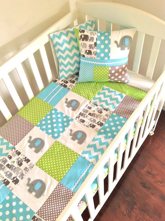 Elephant Baby Crib Quilt in Aqua, grey and Lime green....Made after you order. $170.00, via Etsy.