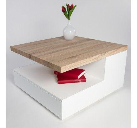 Table basse design blanche laquée et bois de chêne Elena