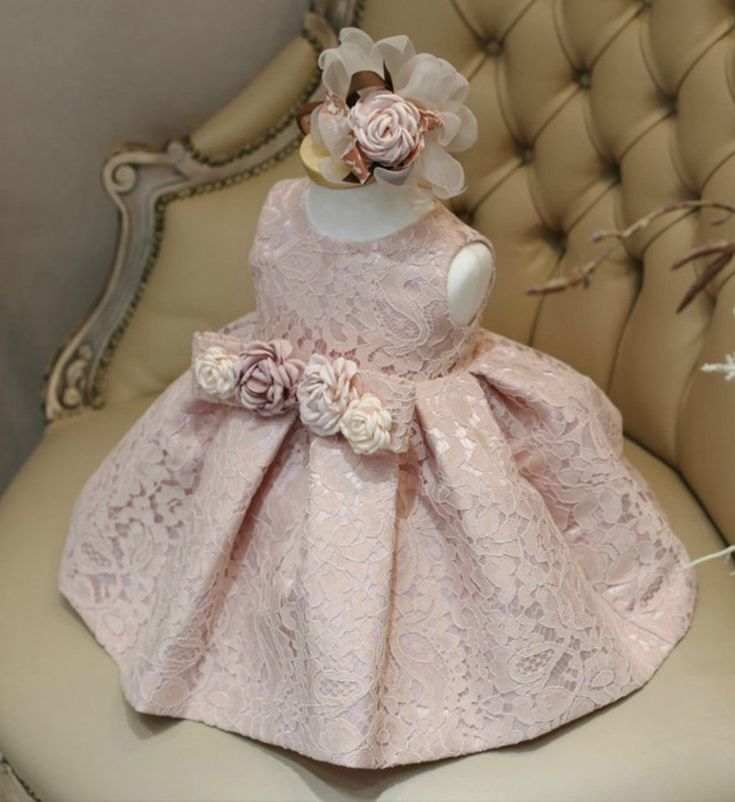 Pink Lace Girl Dress-Made To Order High Quality Pink Sleeveless Knee Length Floral Applique Little Girl Party Dress - Available from Newborn until 15 years old - Material: Cotton, tulle mesh, soft polyester fabric. #floralappliquelacedress #floraldress #flowergirldress #pinklacedress #girllacedress #florallacedress #babygirlbirthdayoutfit #weddingideas #birthdayideas #beautifulpinklacedress