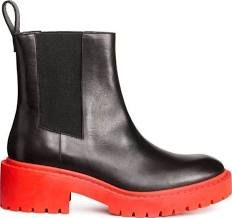 Kenzo H&m H M Women's Ladies, Chelsea Boots, Leather, Black Orange, Us