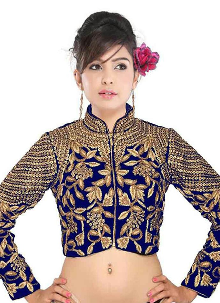 Blue Velvet Blouse Wholesale Collection With Embroidered Work