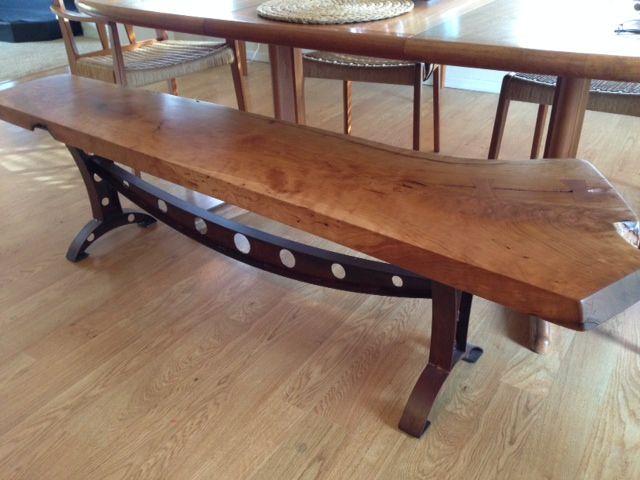 Cherry bench, steel legs. Visit us at http://AcaciaCreek.etsy.com