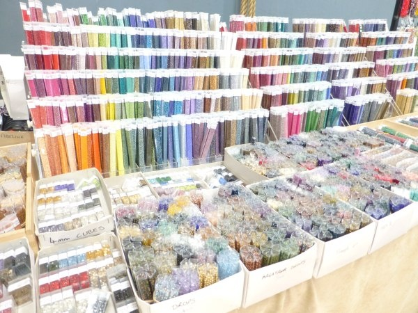 Cranberry stand at Festival of Glass Feb 2013. Not quite all the seed beads :)