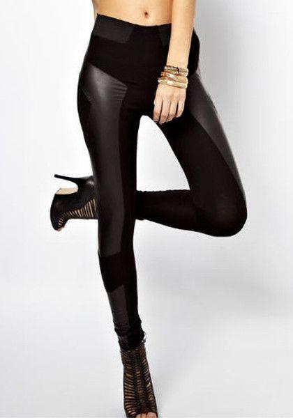 Faux Leather Panel Leggings- Pants | Lookbook Store