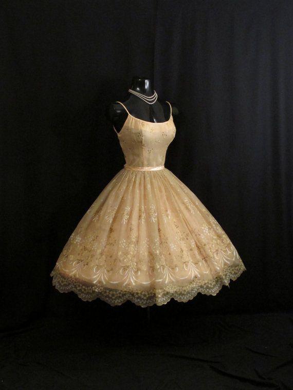 Vintage 1950's 50s Champagne Peach Floral Flocked by VintageVortex, $399.99