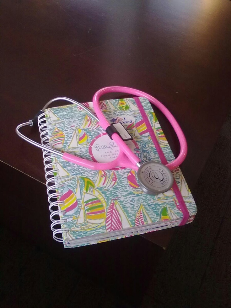 My pink stethoscope and Lilly Planner. Cause that's how I roll. #premedprincess