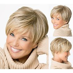Short Straight hair Blonde wigs with bangs Natural wigs for women