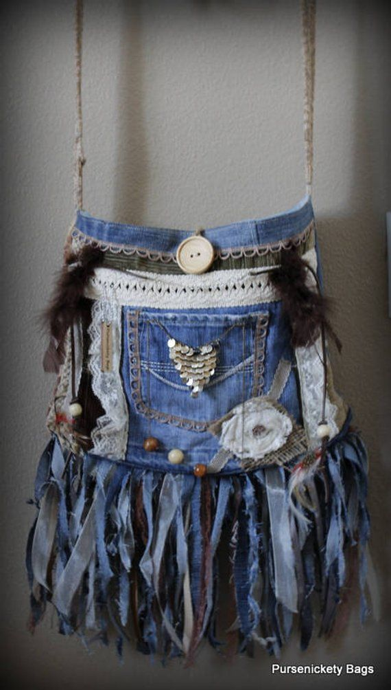 54a8ce989 Festival Bag, Fringe Bag, Denim Bag, Bohemian, Boho Gypsy, Fringe, Hippie, Denim  Bag | Products | Recycled denim, Denim purse, Denim, lace