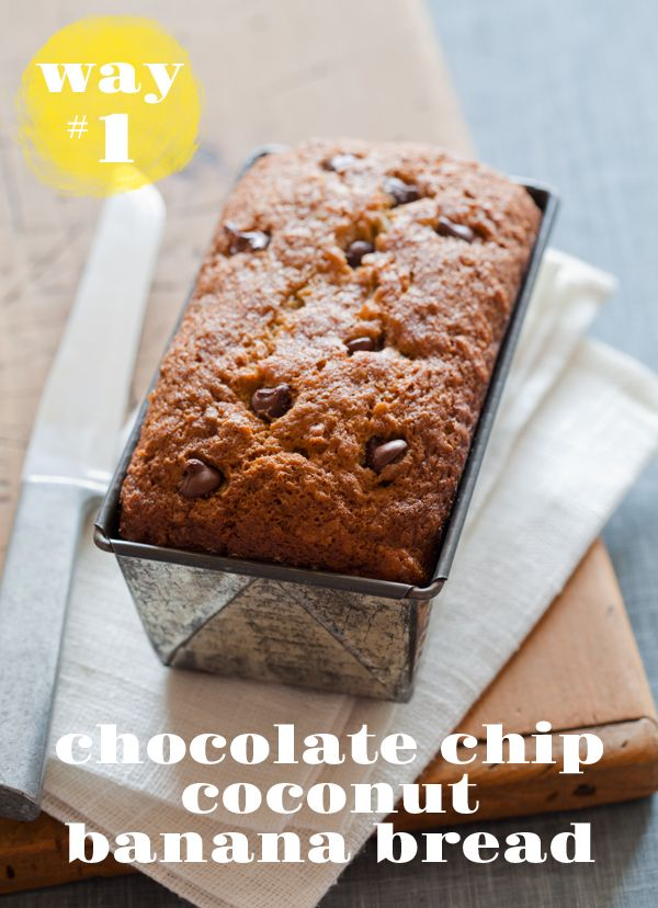 Yummy!Bananabread, Bananas Breads Recipe, Chocolate Chips, Chocolates Chips, Chips Coconut, Forks Bacon, Bananas Coconut Breads, Coconut Bananas Breads, Spoons Forks