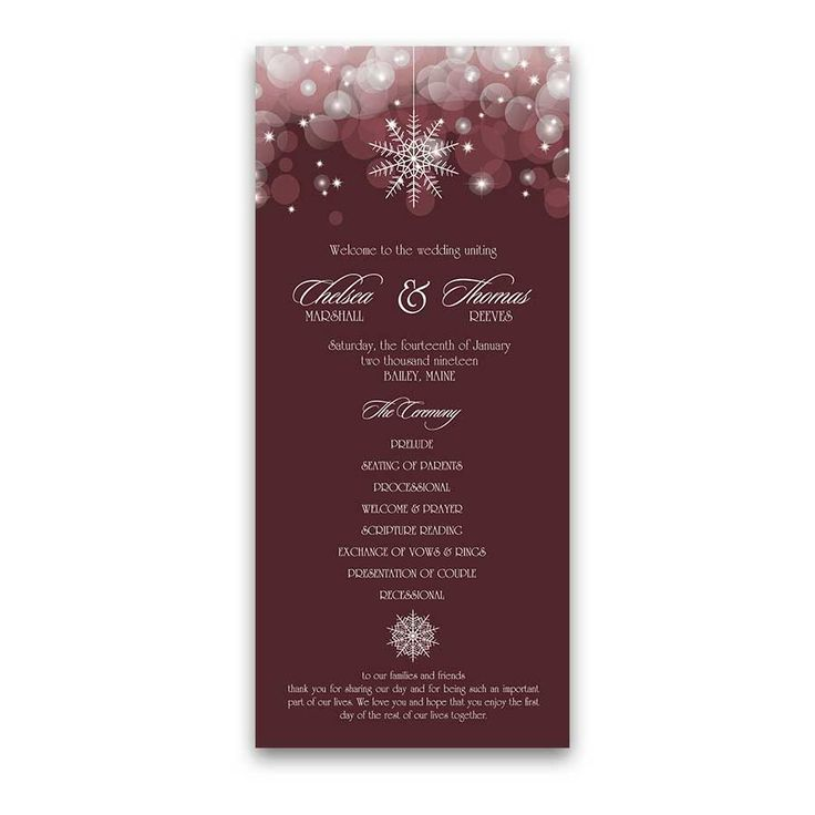 Snowflake Winter Wedding Programs Burgundy designed to coordinate with our Snowflake Winter Wedding Invitations Burgundy collection for winter weddings