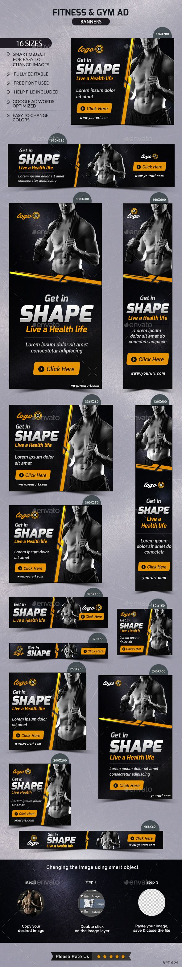 Fitness & Gym Banners Template #design Download: http://graphicriver.net/item/fitness-gym-banners/11849463?ref=ksioks