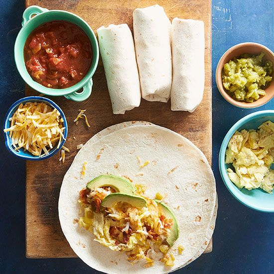 Wake up -- it's fiesta time! Rise and shine to a burrito that's cool enough for a party. This one's overflowing with hearty garlic potatoes and scrambled eggs dressed in salsa verde.