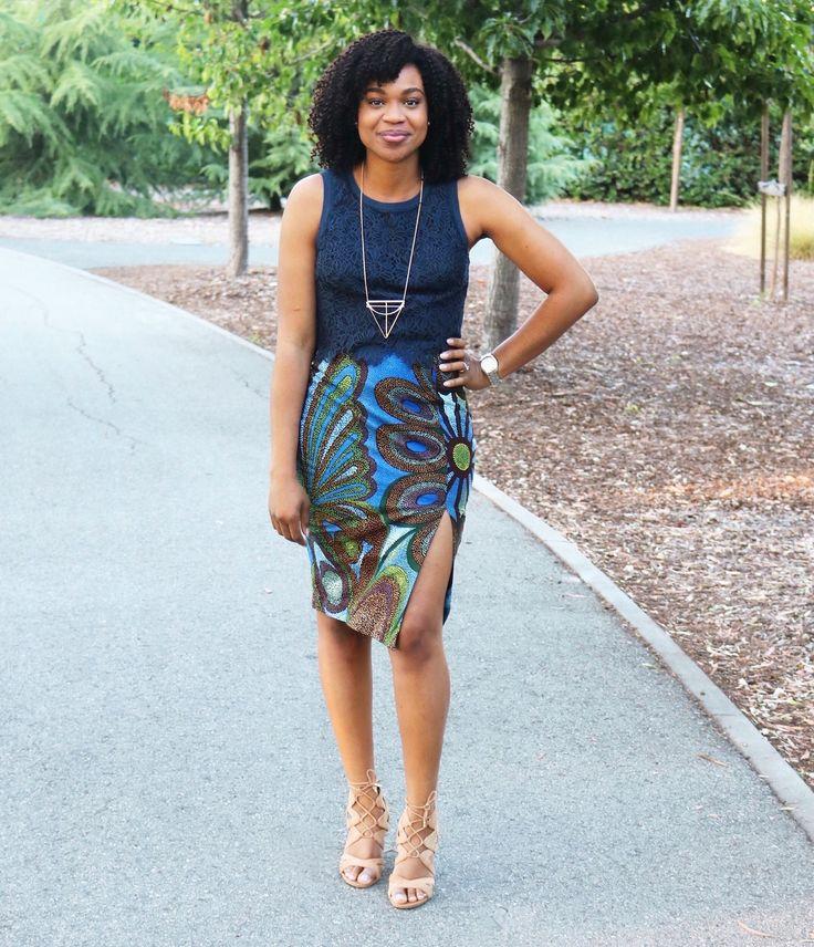 print ankara pencil skirt with slit http