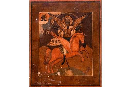 "Ikone, Russland 19. Jh. ""Der heilige Georg"", 27x22 cm, 570/144/19"