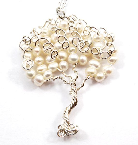 Fresh Water Pearl Swirly Wire Tree Pendant by CuriousJewelry, $30.00