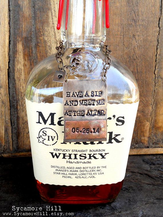 Have a Sip and Meet Me at the Alter CUSTOM Personalized Wedding Day Gift for Groom by Sycamore Hill, $42.00 Attention Brides-to-Be! Looking for a unique, personalized wedding day gift for your Groom? This is it! It is a handsome keepsake of the most important of day of his life! Slip this around a bottle of his favorite bourbon, scotch or other spirit ~ and gift it before the ceremony!