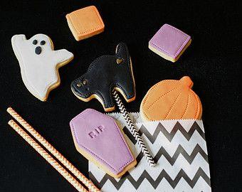 Mini Halloween Trick Or Treat Bag - festa di halloween treats, fantasma biscotti, biscotti di pietra tombale, biscotti di zucca, trucco o trattare i regali
