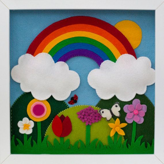 Handmade rainbow and sunshine with spring flowers felt picture from Babes in the Woods. Comes framed with shadow frame (30x30cm). $88