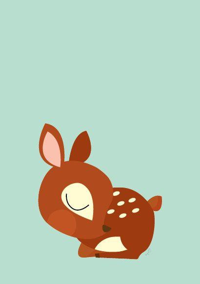 Baby Deer Sleeping Poster  Modern Animal by Sealandfriends on Etsy, $10.50