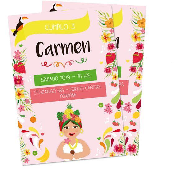 Tropical party printable invitation Carmen Miranda by CumpleKits
