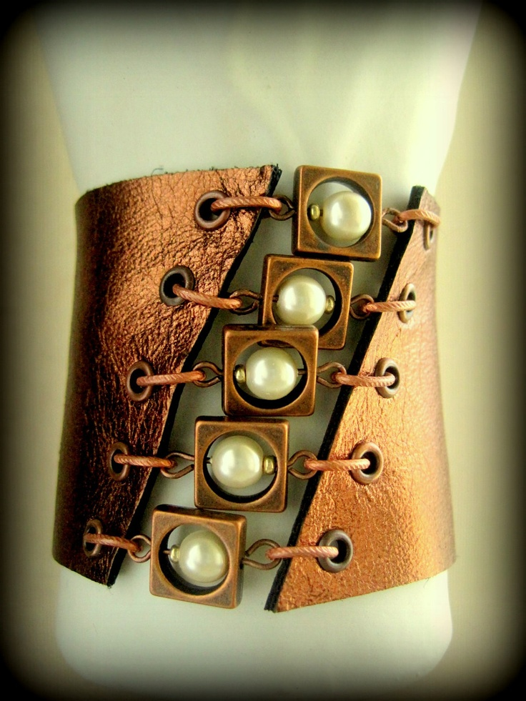 Steam Punk Hand Crafted Leather Pearls Cuff in Boho Bronze Steampunk Metallic Asymmetrical Handmade JewelryHoliday Sale Holiday Sale. $45.00, via Etsy.