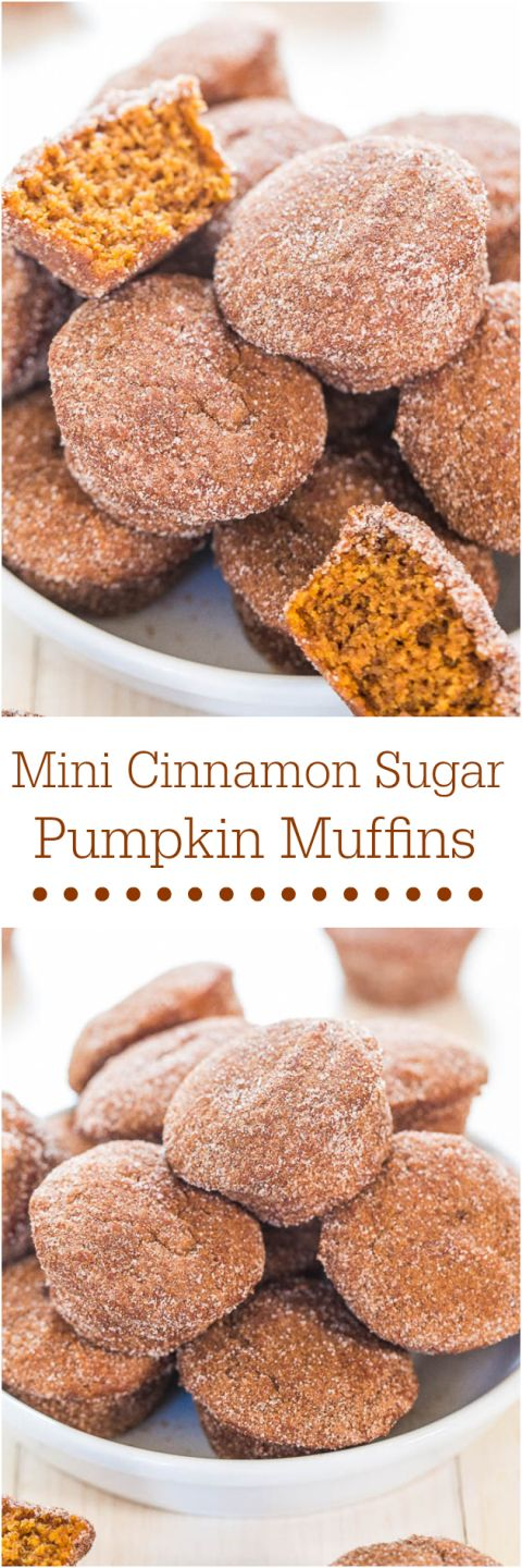 Mini Cinnamon Sugar Pumpkin Muffins - Soft little muffins that pack a big punch of pumpkin flavor! Mini food just tastes better!! YUM!