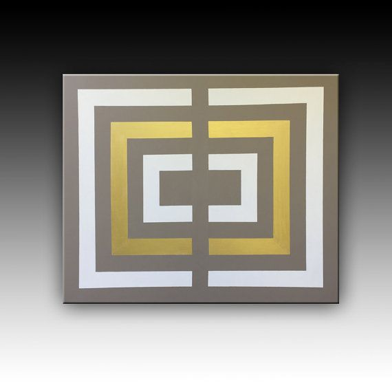 White, taupe, Gold, Original Geometric Painting Acrylic Painting by CanvasOnCanvasArt