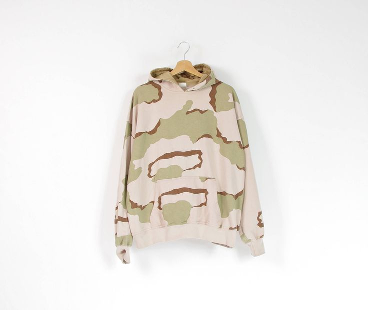 Vintage tri-color desert camo army hoodie / size L-XL by Only1Copy on Etsy