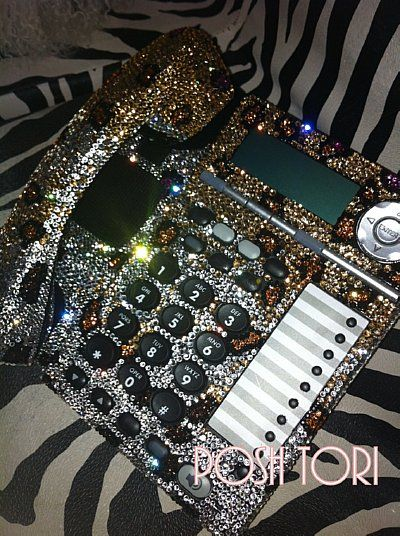 PoshLifeBling.com. Leopard Print Swarovski Crystal Home/Office Phone