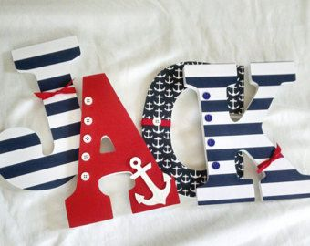 Navy White and Grey Nautical Anchor Letters by MurrayDesignShop