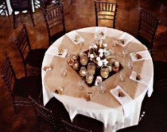 Burlap 90 Round Tablecloth Top of the line  100%
