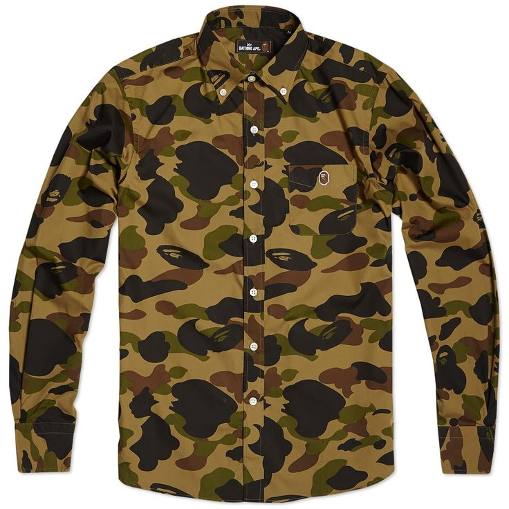 fendi designer belts xg8x  Mr Bathing Ape 1st Camo Button Down Shirt Green